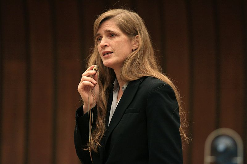 Samantha Power speaking in Geneva. Author: United States Mission Geneva, Eric Bridiers. Licensed under the Creative Commons Attribution 2.0 Generic license.