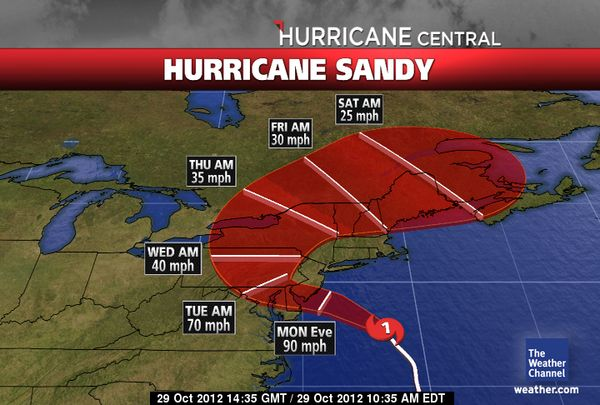 Hurrican Sandy Tracking Map