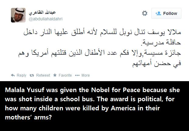 Malala Yusuf was given the Nobel for Peace because she was shot inside a school bus. The award is political, for how many children were killed by America in their mothers' arms?